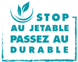 logo stop au jetable, passez au durable